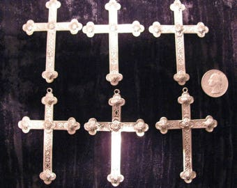 6 Pcs Gothic Cross Pendant Six Pieces 3 Inches Tall Chrome Silver Plated Brass Cross Jewelry Findings Stampings Supplies For Necklaces