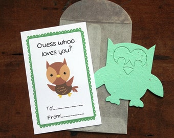 Owl Valentines- SET OF 8 - includes color printed card, seed paper, and glassine envelope- choose from 16 seed paper colors