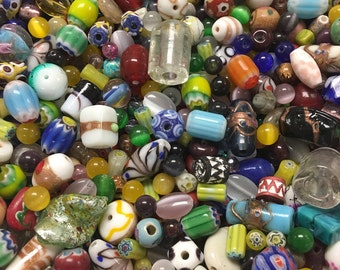 Huge Mixed Glass Bead Mix, Glass Beads Assortment, Over 1 Pound, Mixed Glass Bead Lot