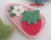 Felt hair clip -No slip -Wool felt -Strawberry flower -pale pink SAMPLE