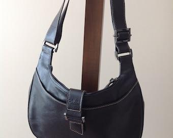 Vintage 90s Longchamp Black Leather Purse / Shoulder Strap Purse