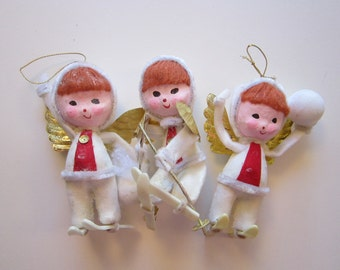 3 vintage SKI ANGELS ornaments - paper mache heads, flocked bodies, skis, golden wings - made in Japan