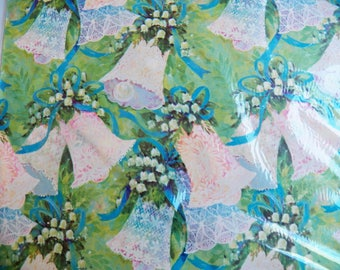 Vintage Wedding Gift Wrap, Lace Bells Wrapping Paper, Bridal Shower Gift Wrap, Green Blue Babies Breath Wrap, 60s Wrapping Paper New