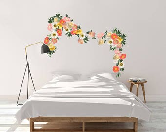Mini Yellow and Coral Garden Flowers- Wall Décor