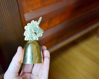 vintage brass unicorn bell / brass unicorn nursery decor / vintage brass bell