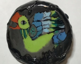 Extra large Aztec Bird Lampwork Glass Studio Button