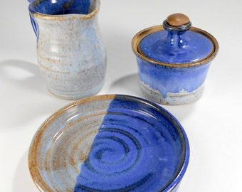 Ceramic cream and sugar set, creamer pitcher sugar bowl set with saucer, pottery cream and sugar, stoneware sugar bowl and creamer