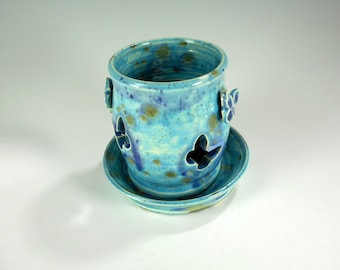 Ceramic candle holder - pottery candle burner - stoneware candle lantern - blue candle holder with butterflies - pottery candle holder