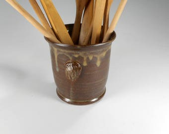 Ceramic utensil holder, kitchen utensil holder, stoneware utensils pot, pottery utensil holder, kitchen utensil jar, black walnut vase