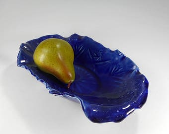 Ceramic fruit or cracker dish, hand built stoneware pottery oval olive tray, home decor, kitchen serving dish, cobalt blue pottery dish