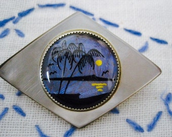 Vintage Blue Morpho Butterfly Wing and Mother of Pearl Pin Brooch With Palm Trees