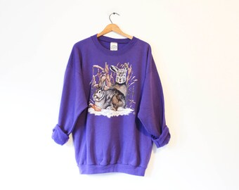 Vintage Purple Bunny Rabbit Sweatshirt