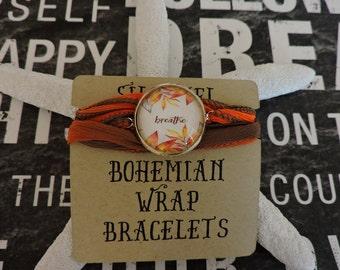 Silk Wrap Bracelet, Just Breathe, Boho Jewelry, Wrist Wrap Bracelet, Cabochon Jewelry, Wrap Jewelry, Anklet, Wrap Anklet
