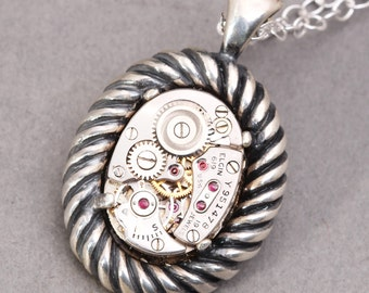 Mens Sterling Silver Necklace Steampunk Necklace Mens Steampunk Necklace