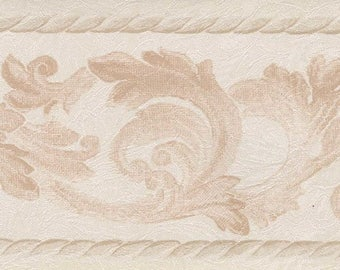 418B151 Silk and Satin Leaves Scroll Wallpaper Border