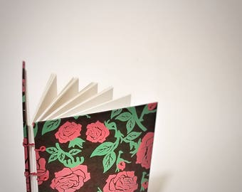 red roses on black coptic bound journal - roses writing journal - roses hand bound journal - roses writing notebook - roses handmade journal