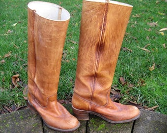 FRYE Vintage Boots Brown Women's Sz 8 USA 6500 White Label 1980s Great Shape Stored w/Boot Shapers