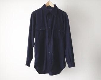 60s PENDLETON twin peaks NAVY blue long flannel button down