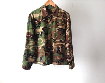 men's vintage CAMO faded HUNTING cruiser bomber LINED field jacket