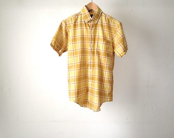 vintage fitted PLAID heritage 60s short sleeve button up shirt