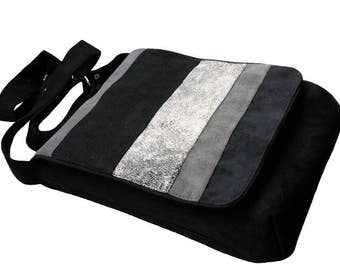 Original Flap Cover Bag, Authors Crossbody Bag, For a Bike, Striped Bag with Flap, OOAK Messenger Bag, Eco Suede Vegan Bag, Adjustable Strap