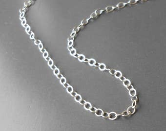 Sterling Silver Chain, by the Foot, Round Flat Cable Chain 2.5mm x 3mm Three feet and up