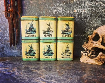 """Spice Canisters / 3.25"""" X 2.5"""" X 2.5"""" / 1930's"""