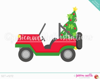 Instant Download Christmas Jeep Clip Art, Cute Digital Clipart, Christmas Car Clip art, Christmas Tree in Jeep, Beach Illustration, #1272