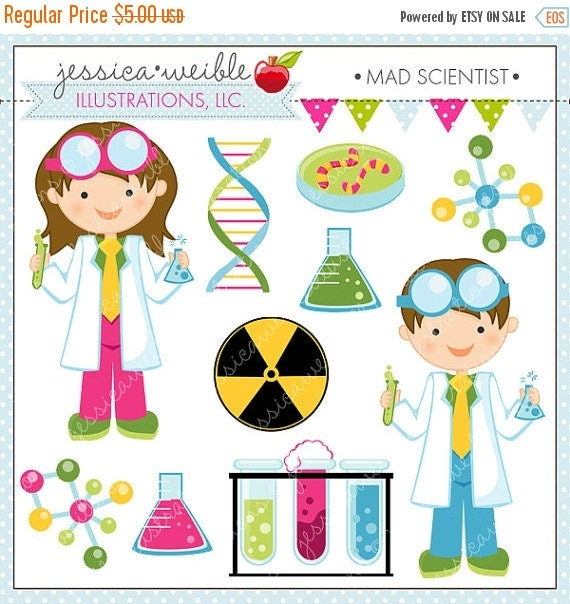 ON SALE Scientist Kids Cute Clipart, Science Kids, Science Clip art, Scientist Graphics, Kids in Lab Coats, Test Tube, DNA, Molecule Graphic