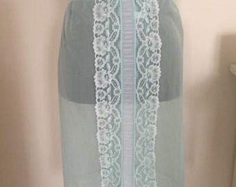 60s aqua blue half slip turquoise lace hem burlesque sexy mad men size small