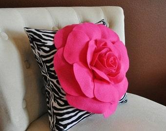 SALE Hot Pink Rose on Zebra Pillow 14x14 Home Decor Pillows Girls Room Decor
