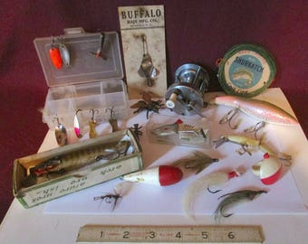 Big Mixed Lot Old Vintage Fish Tackle- lures, reel, flies, line, misc!