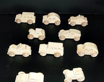 10 Handcrafted Wood Toy Cars  OT-4  unfinished or finished