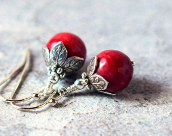 Silver Leaf Red Coral Earrings Red Dangle Earrings Coral Jewelry Dark Red Earrings Red Bridal Earrings Red Drops Antique Silver Red Dangles