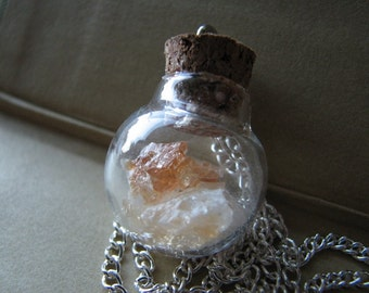 Citrine necklace | raw crystal | pendant | point | november | glass bottle