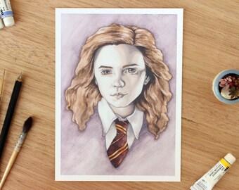 Hermione Granger. 5x7 Fine Art Archival Print. Harry Potter Fan Art. Watercolor Illustration