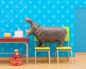 Hippo art, diorama, retro kitchen, birthday cake: Hungry, Hungry Hippo