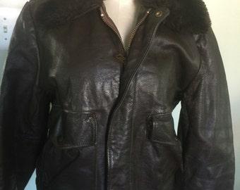 Vintage Leather Bomber Jacket Coat Sz S/M