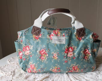 London Coated Canvas Floral Teal Handbag with Roses and Fabric with Leather Handles Pockets