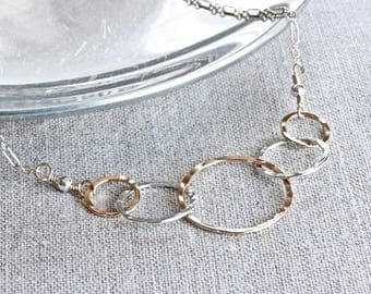 5 Interlocking Circle Necklace, Family Necklace, Ring Necklace, Gold Filled Jewelry, Gold and Silver Necklace, Christian Jewelry for Women
