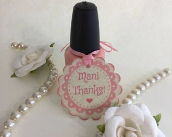 Nail Polish Gift Tags For For Baby Shower Or Bridal Shower, Mani Thanks Tags, Spa Party Favor Tags - Set Of 20 Vintage Style