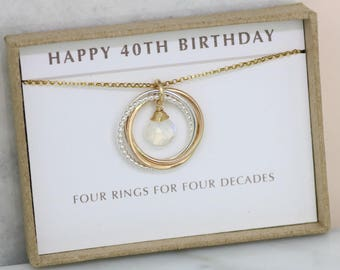 40th birthday gift for her, moonstone necklace, June birthday gift for wife  - Lilia