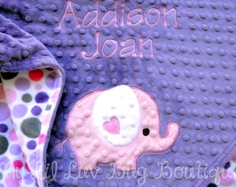 Personalized baby blanket- elephant baby blanket with name- amethyst and hot pink baby blanket with polka dots- pink and purple crib bedding
