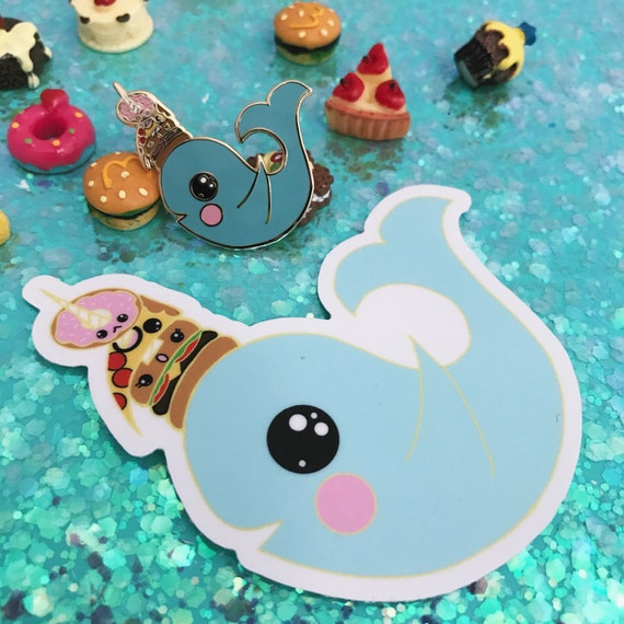 """1.5"""" Narwhal Snack Enamel Pin and Sticker"""