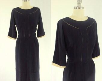 1950's Navy Blue Sheath Dress M L R&K Originals 29 Waist