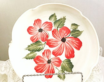 Ceramic quiche dish, pie plate, serving dish, clay pie plate, quiche dish, red white hand painted flowers