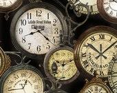 Train Station Clocks Antique from the Railway Express line for Benartex - full or Half Yard Clocks on Black