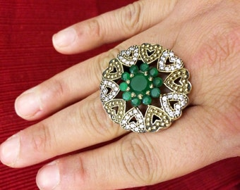 Emerald ring,Heart ring,Green gemstoneTurkish Ring,US Size 9.5 mid century antique inspired,artisan,Edwardian Jewelry Flower ring by TANEESI