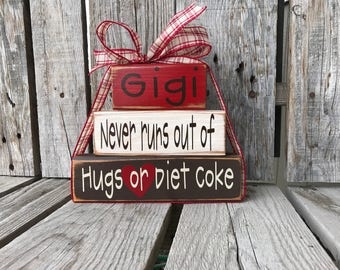 Grandma Nana Mimi Gigi Oma Personalized Wood Block Set diet coke The Best Moms birthday Christmas Home decor Mothers Day gift