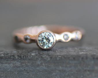 Moissanite Engagement Ring - Solid 14K ROSE Gold Pebble Band - 4mm Clair de Lune Gemstone  - Eco Metal - Diamond  Accents